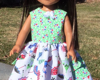 Summer dress fits 14.5 inch dolls like Wellie Wishers and Hearts for hearts dolls, 14 inch doll dress, dolls, doll clothes, doll dresses