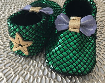 Little Mermaid Ariel Leather Baby Moccasins, Mermaid Moccs, disney, Baby Moccasins, Disney Toddler Moccasins, Leather Baby Moccasins