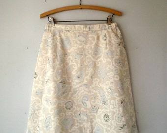 Skirt  Shell Pattern Medium Summer Fashion Preppy 1970s Aline Skirt