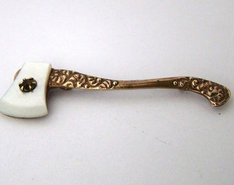 Antique Victorian Gold Filled Repousse  & Mother of Pearl Axe Pin Brooch