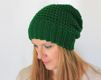 Emerald green slouchy hat, chunky hat, slouchy beanie, Clio, winter fashion