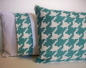 Aqua Check Decorative Pillow Cover P Kaufmann Pillow Aqua Houndstooth Travel Pillow Cover 0