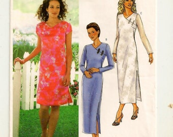 A Semi-Fitted Dress Pattern w/ Left Front Button/Frog Detail and Sleeve & Length Variations for Women: Uncut - Sizes 6-8-10 ~ Butterick 4124
