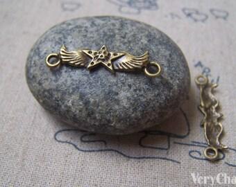 20 pcs of Antique Bronze Skull Star Wings Connectors 7x27mm A4913