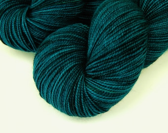 Hand Dyed Sock Yarn, Sock Weight Superwash Merino Wool Yarn - Deep Sea Tonal - Indie Knitting Fingering Yarn, Blue Green - SMALLER SKEIN