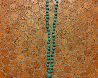Hand Beaded and Knotted Turquoise Beaded Tassel Necklace, BOHO necklace