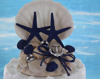 Nautical Cake Topper / Coastal Wedding Cake / Seashell Cake Topper / Destination Wedding Cake / Navy Blue Nautical cake topper