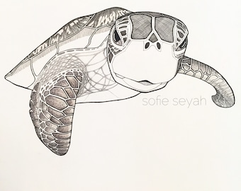 Black and White Hawksbill Sea Turtle - Sofie Seyah Ink Nautical Illustration - Art Print