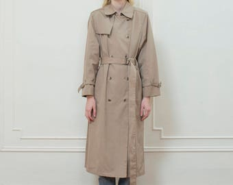 vintage tan trench coat medium | beige london fog trench large | double breasted long trench rain coat | tan belted trench | 1970s | 70s