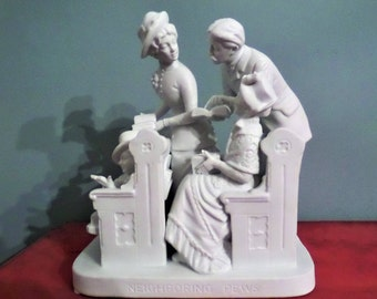 "Reed and Barton "" Neighboring Pews"" Porcelain Figurine"