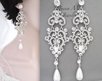 Long Crystal Chandelier pearl wedding earrings Long pearl drop earrings For a bride Swarovski Pearl Statement earrings Wedding Jewelry