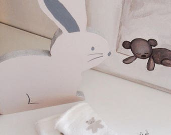 BEIGE Bunny decoration for bedroom and baby, birthday gift, kid
