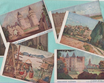 6 cards postcards old /messageries maritimes/France and colonies/old postcard