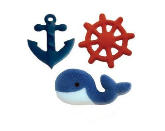 14 Nautical Sugar Topper Decorations for Cakes & Cupcakes Anchor Whale and Ship Wheel