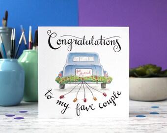 Wedding card, congratulations card, couple card, blank card, celebration card
