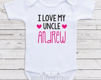 I love my uncle etsy personalized baby bodysuits i love my uncle andrew short or long sleeve one negle Choice Image