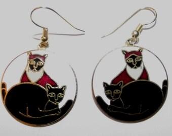 Vintage Cloisonne Enamel Cat Earrings Meow Laurel Burch