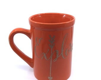 Explore Gold Glitter Orange Coffee Mug