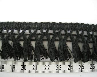 3 to 6 yards  Fringe Trim Tassel Trim 3.2 cm - Choose your own yards - Black