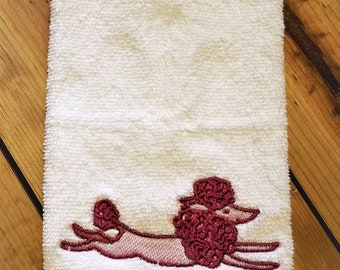Embroidered Facial Cloth -Pink Poodle