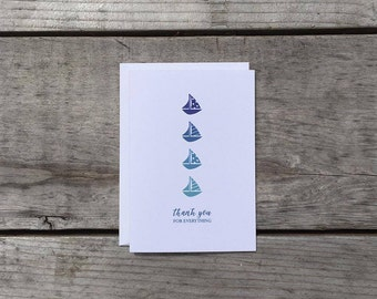 Thank You Card Set   Sailboats in a Row - Set of 8