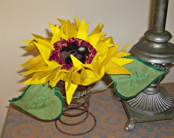 Handmade Sunflower on a Vintage Bed Spring