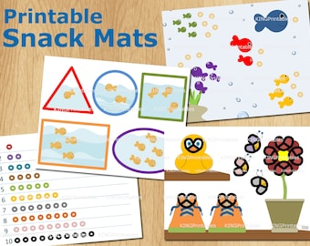 Printable Snack Mats, Educational Place Mat, DIY Gift Kids, Counting Toys, Learning Colors, Cheerios, Pretzels, Goldfish