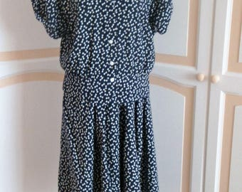 Vintage Navy and White Two Piece by Irringer  size Large