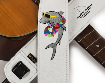 Party Shark Parrothead Custom Embroidered Guitar Strap