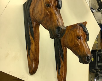 Horse head corbels, custom stained/painted and finished