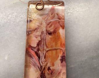 Horse Glass Tile Pendant  Chestnut Beauty  Handforged Copper Vintaj Bale  Domino size Glass Cabachon   Stocking Stuffer Gift for horse lover