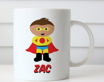Personalized Superhero Mug - Boy's Hero Cup - You Choose Hair, Skin Color - Personalized with Child's Name