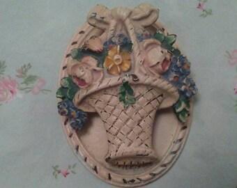 Antique Cast Iron Door Knocker Basket of Flowers