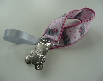 Pacifier / Binky, Pink Ribbon Teddy bear grey bear clip