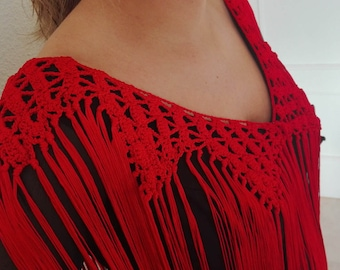 Fringes for flamenco, blonde for flamenco, party, ornament prom dress, original blouse accessory, crochet Cuquillo, Mother's Day