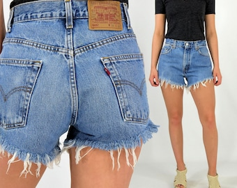 Vintage Levi's High Waist Shorts Light Wash 00 0 2 4 6 8 10 12 14 16 18 20 Plus