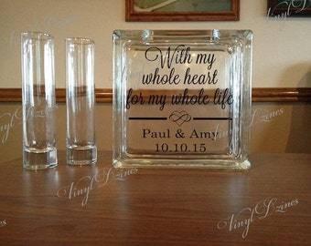 Personalized Wedding Sand Unity Set - With My Whole Heart For My Whole Life - Unity Sand Ceremony Set - SU-1004
