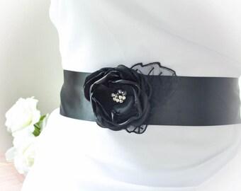 Black Bridal Sash - Black Sash for Evening Gown - Floral Bridal Sash - One Flower Black Bridal Sash