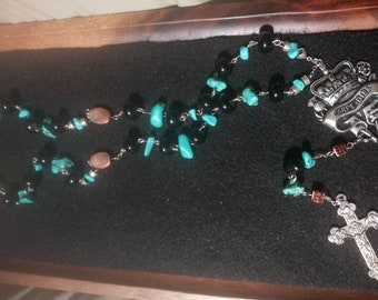 Semi precious beaded rosary style necklace