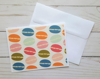 Macaroon Cards, Blank Greeting Cards, Dessert Cards, Just Because Cards, Card Set, Macaroons, Stationery Set, Any Occasion Cards