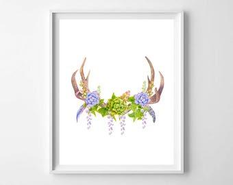 Cactus deer antler wall art,Succulent bouquet,Printable Boho decor,cactus feather antler,Tribal print,Bohemian poster,Rustic home decor,