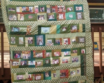 Photo Collage Memory Quilt - queen size - 100 photos
