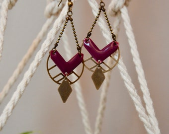 Plum chevron earrings