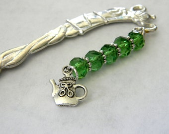 Teapot Bookmark with Green Glass Beads Silver Color Shepherd Hook Bookmark Tea Design