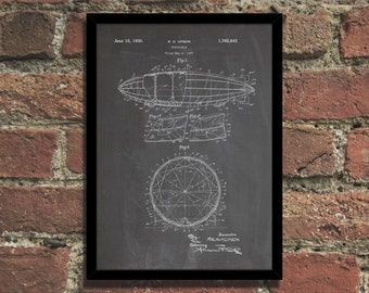 Dirigible Airship Patent Print Industrial Wall Art Poster