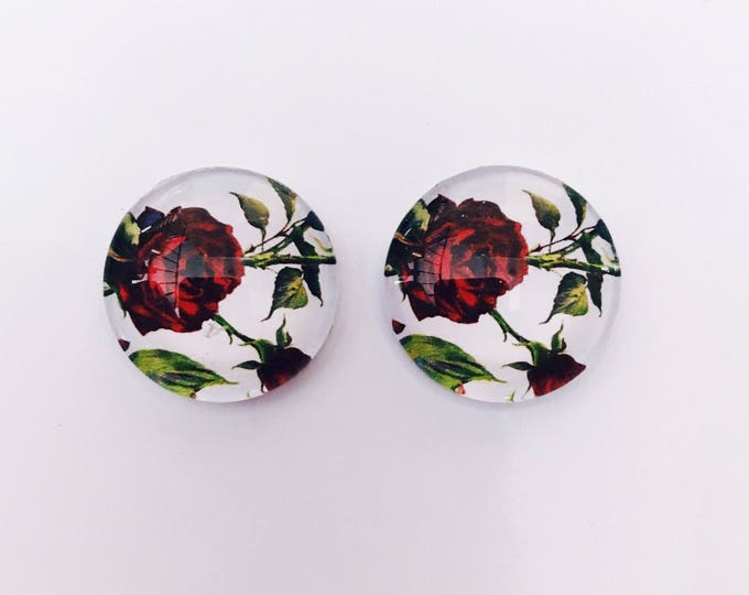 The 'Ruby Rose' Glass Earring Studs