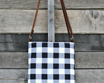 Crossbody Bag, Black and White Buffalo Plaid, Genuine Leather, Everyday Purse, Adjustable Strap