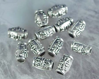 12 Antique Silver Pewter Barrel Beads 10x6mm (p011)