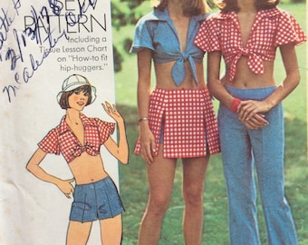 Simplicity 6352 misses pants or shorts, midriff top and short skirt size 14 bust 36 vintage 1970's sewing pattern  Uncut  Factory folds