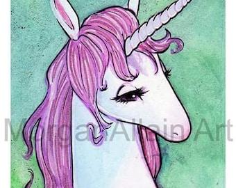 Mint and Pink Unicorn Art Print